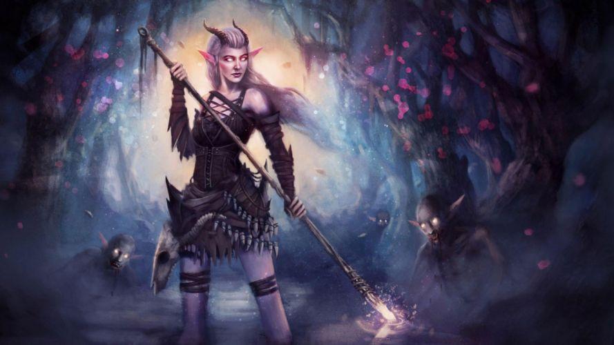 elf warrior with spear fantasy wallpaper