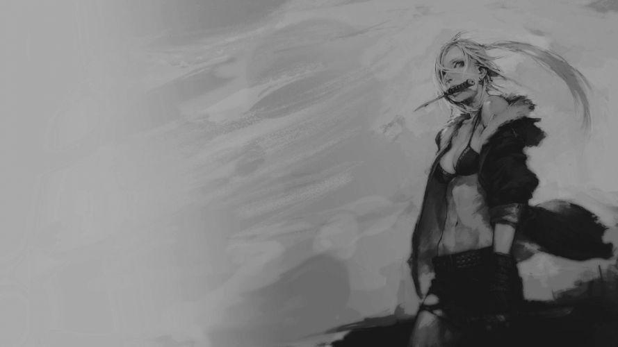warrior girl cool black-white knife wallpaper