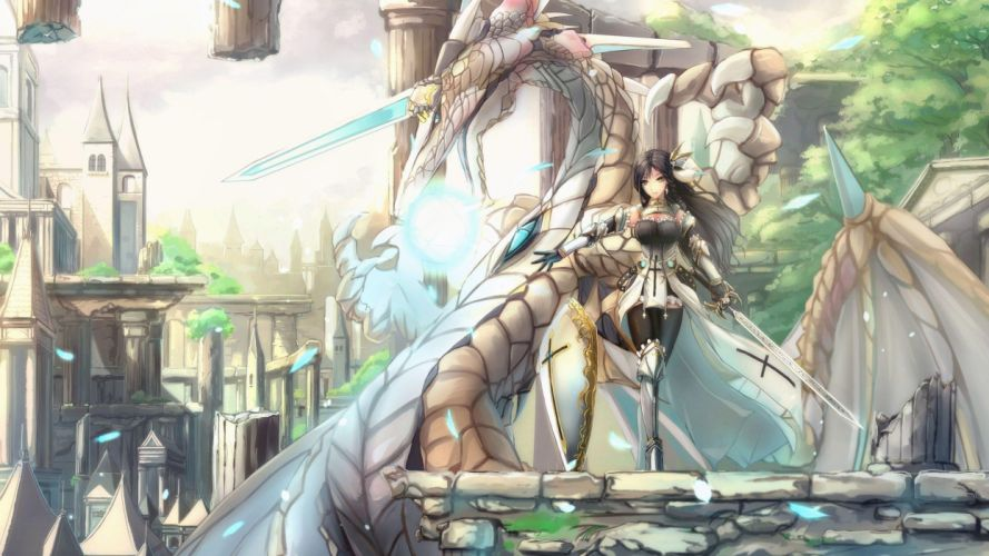 warrior anime girl with her dragon wallpaper