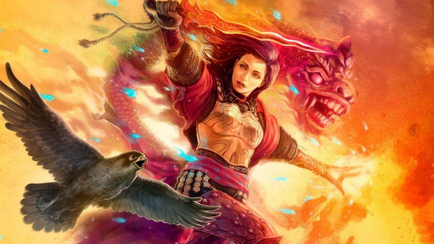 woman fantasy animal warrior with falcon magic dragon wallpaper