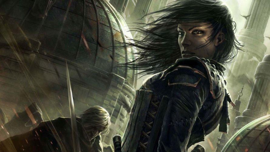 fantasy woman magic warrior sword wallpaper