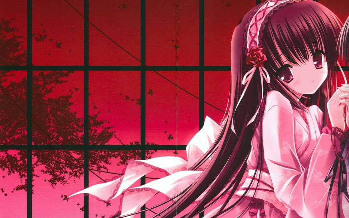 Red-Themed Anime Girl In Kimono With Long-Hair wallpaper