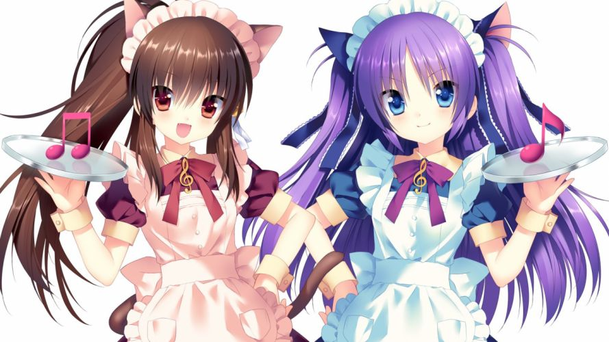 Cute Anime Maid Girls Brown And Purple Serving Melody wallpaper