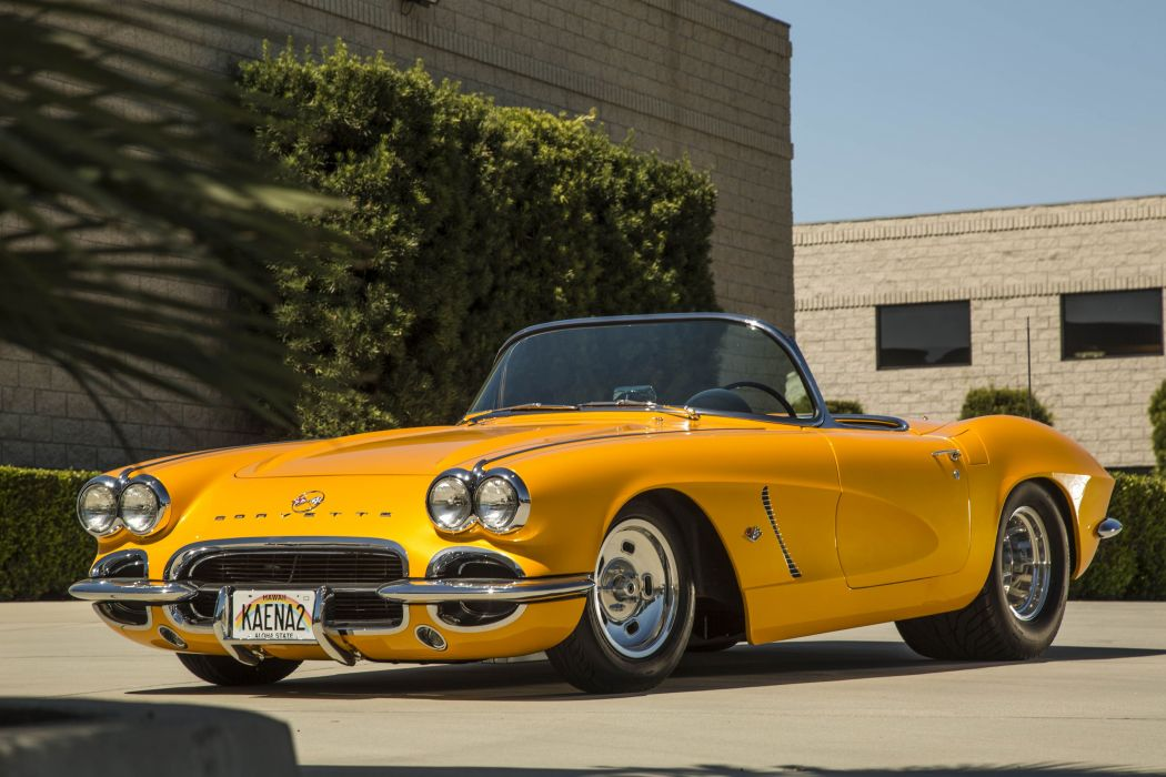 Pro Street 1962 chevy Corvette (C1) cars classic yellow modified wallpaper