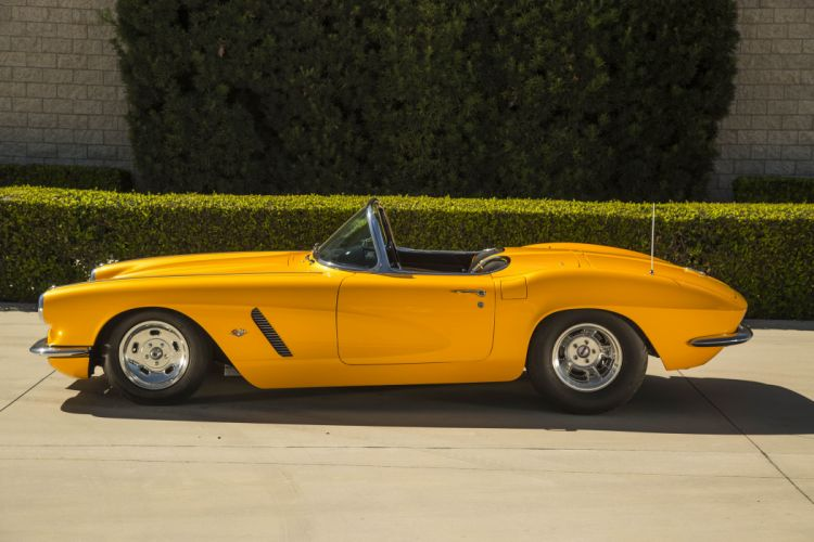 Pro Street 1962 chevy Corvette (C1) cars classic yellow modified wallpaper