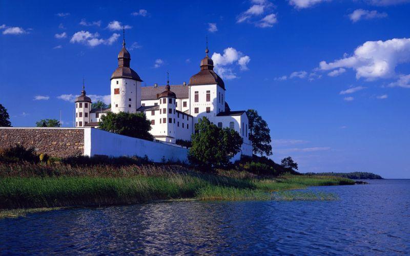 castillo lago suecia europa arquitectura wallpaper