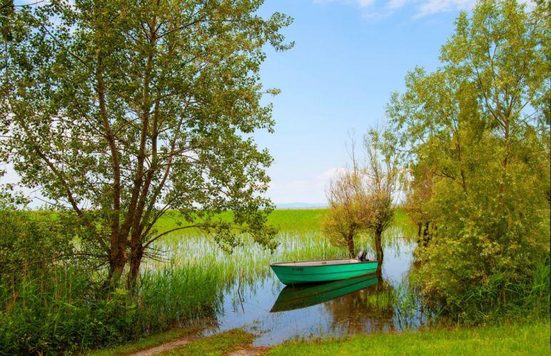 Austria Boats Rivers Vorarlberg Nature wallpaper