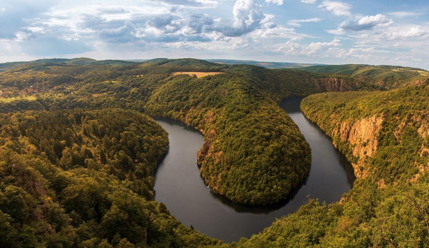 Czech Republic Prague Rivers Scenery Forests Clouds river Vltava Nature wallpaper