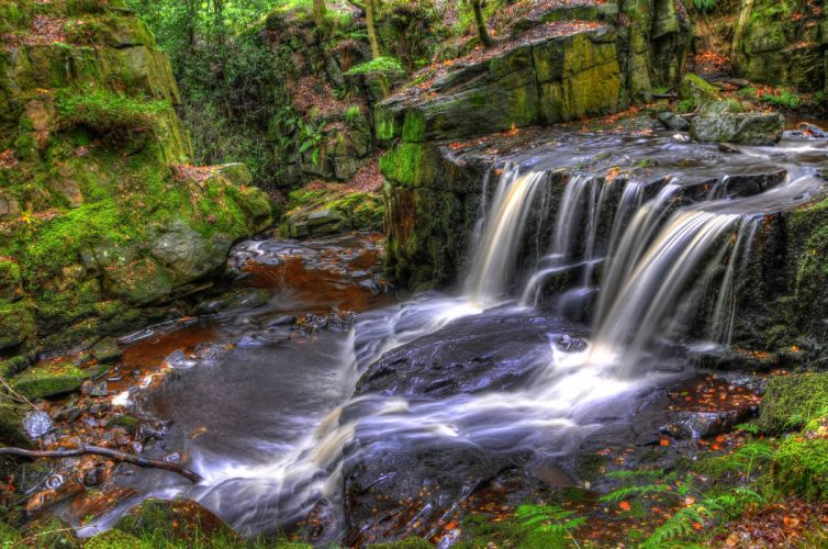 England Waterfalls Moss Jepsons Clough Waterfall Rivington Nature wallpaper