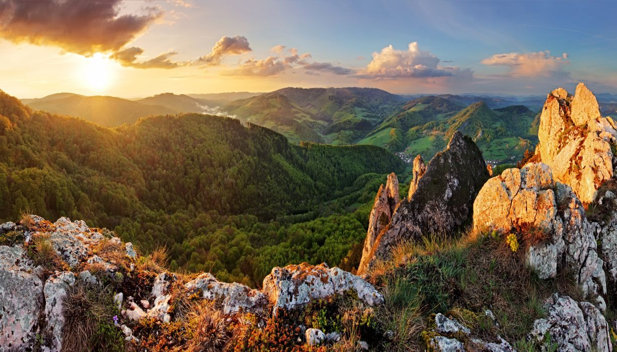 Slovakia Mountains Sunrises and sunsets Forests Scenery wallpaper