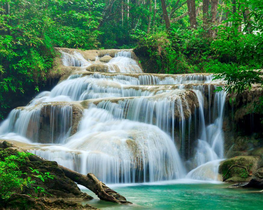 Thailand Parks Waterfalls Erawan Waterfall Kanchanaburi Nature wallpaper