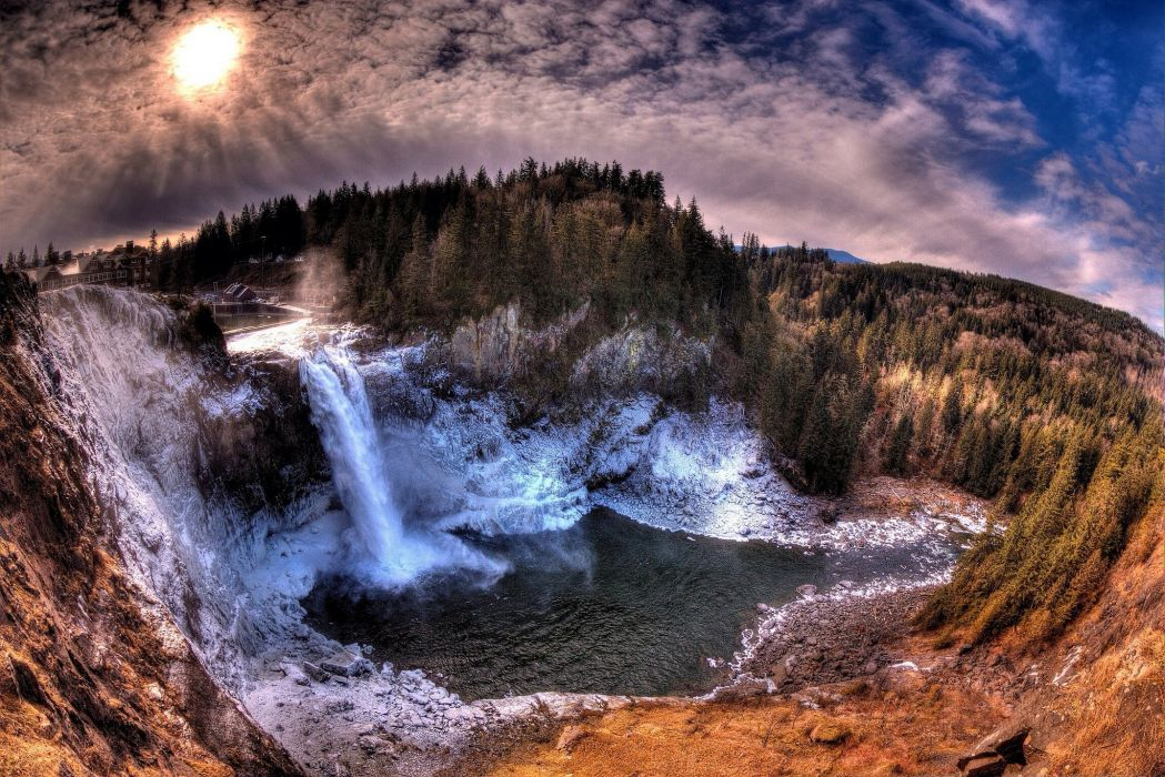 Waterfalls Scenery Forests USA Washington Snoqualmie Falls Nature wallpaper
