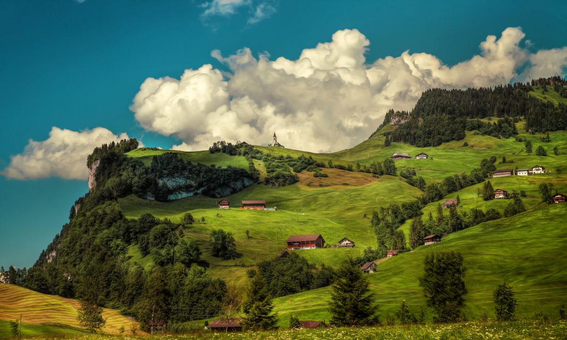 Switzerland Mountains Forests Houses Grasslands Scenery HDR Clouds Nature wallpaper