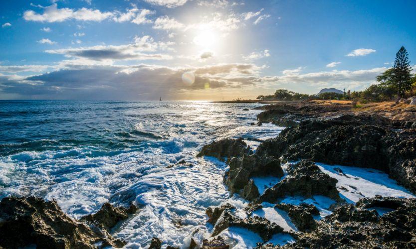 USA Scenery Coast Waves Sky Ocean Hawaii Clouds Nanakuli Nature wallpaper
