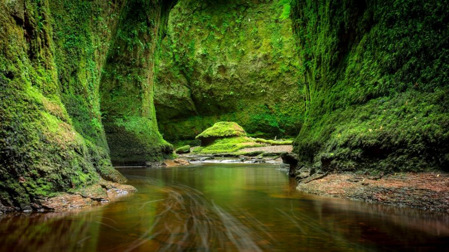 Scotland Rivers Crag Moss Craighat Nature wallpaper