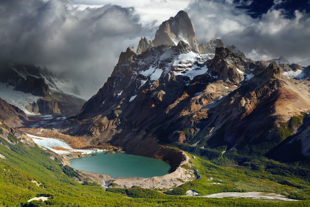 Argentina Mountains Lake Scenery Grass Clouds Nature wallpaper