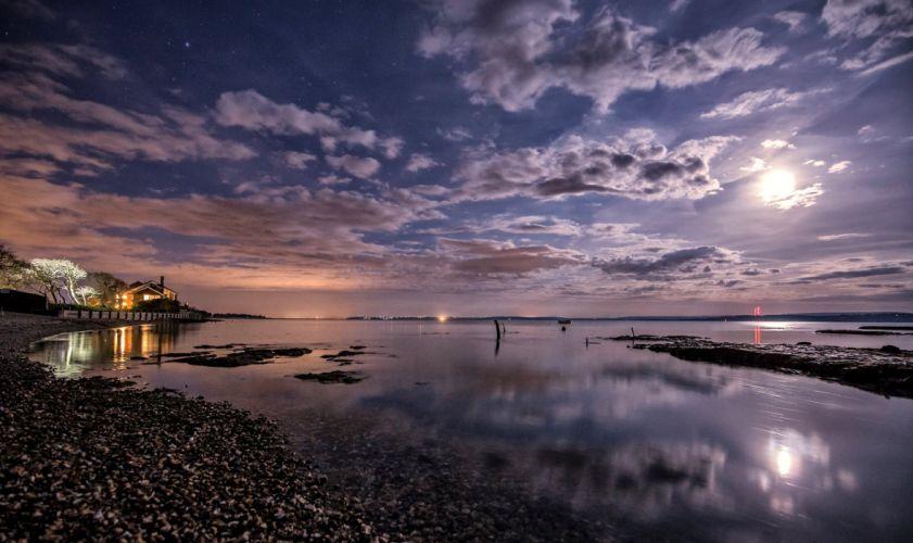 United Kingdom Scenery Coast Sky Night Clouds Moon Lymington Nature wallpaper