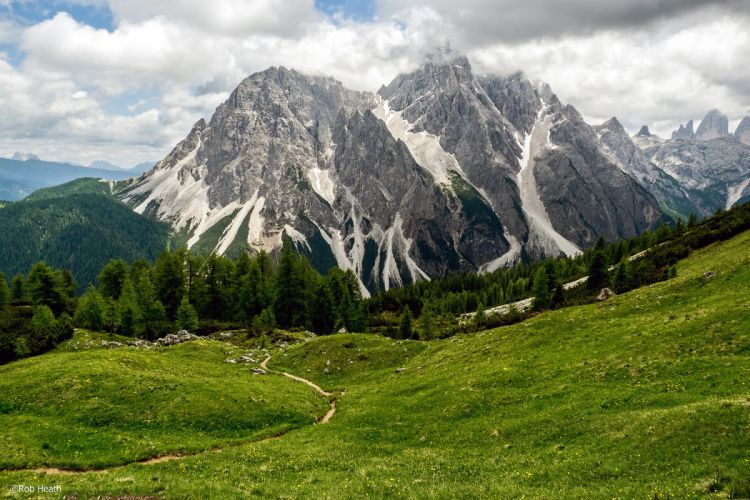 Italy Mountains Grasslands Forests Clouds Sesto wallpaper