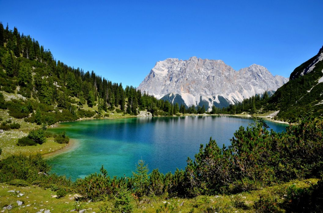 Scenery Mountains Lake Forests Nature wallpaper