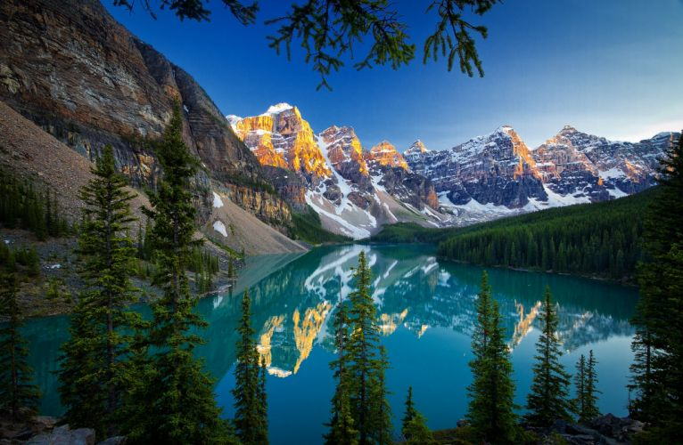Canada Mountains Scenery Lake Forests Banff Moraine Lake Nature wallpaper