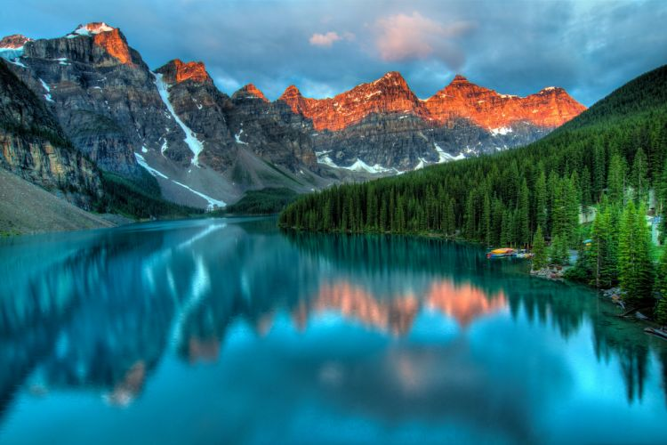 Canada Mountains Scenery Lake Forests Moraine Lake Nature wallpaper