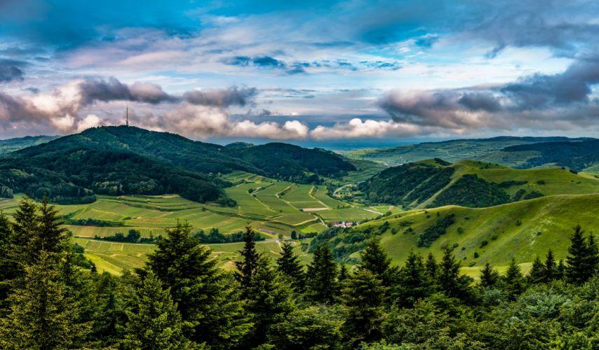 Germany Scenery Mountains Fields Forests Clouds Fir Kaiserstuhl Hills Nature wallpaper