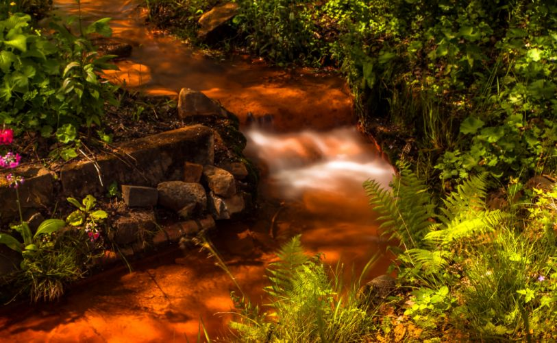 Germany Parks Waterfalls Stones Romberg Park Dortmund Nature wallpaper