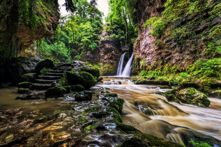 Switzerland Waterfalls Stones Stairs Moss Crag La Tine de Conflens Nature wallpaper