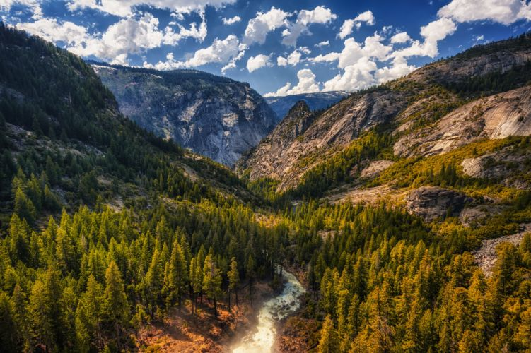 USA Mountains Scenery California Clouds Trees Tuolumne Meadows Nature wallpaper
