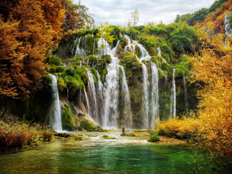 Croatia Parks Waterfalls Autumn Plitvice National Park Nature wallpaper