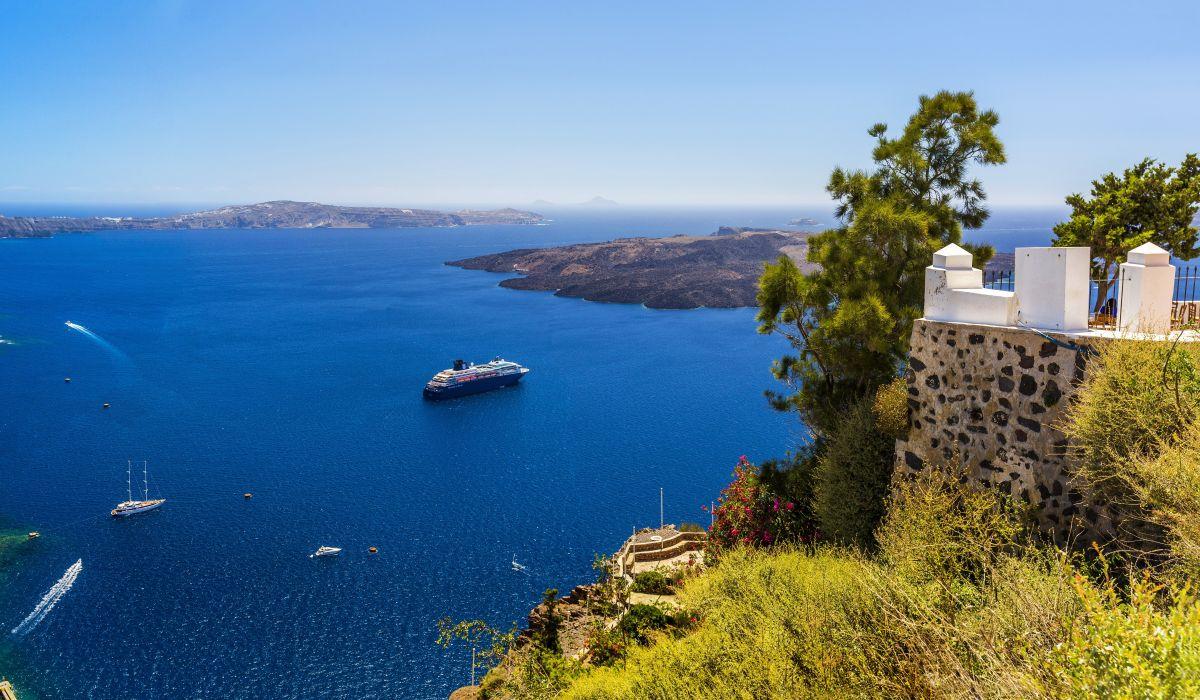 Greece Sea Coast Scenery Cruise liner Santorini Nature wallpaper