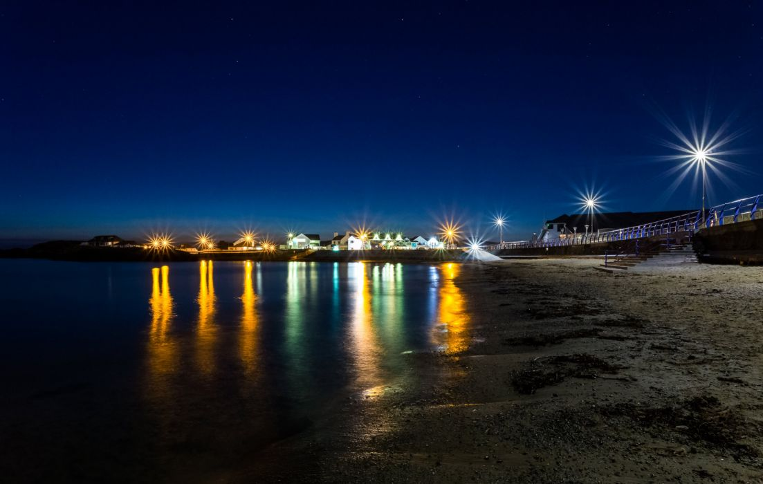 United Kingdom Coast Night Street lights Trearddur Bay Nature wallpaper