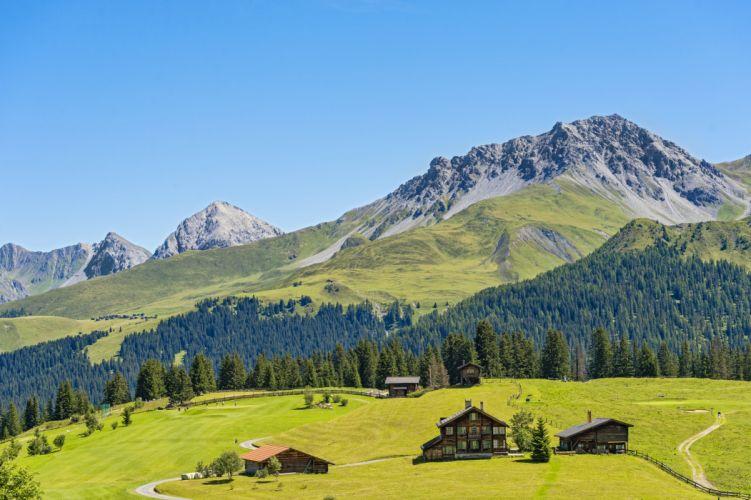 Switzerland Scenery Mountains Houses Forests Grasslands Jakobshorn Davos Nature wallpaper