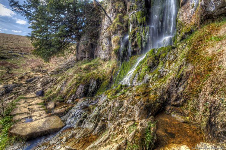 United Kingdom Waterfalls Moss HDR Thorton Force Waterfall Nature wallpaper