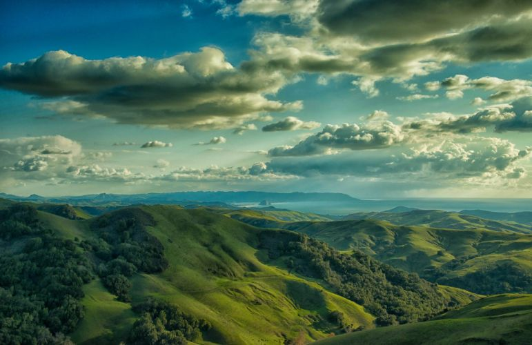 USA Scenery Mountains Sky Grasslands Clouds Cambrian Hills Nature wallpaper
