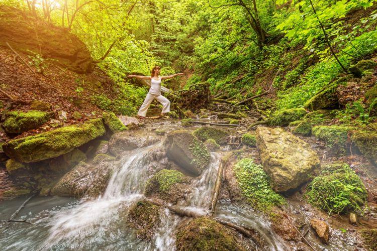 Waterfalls Stones Moss Nature Girls wallpaper