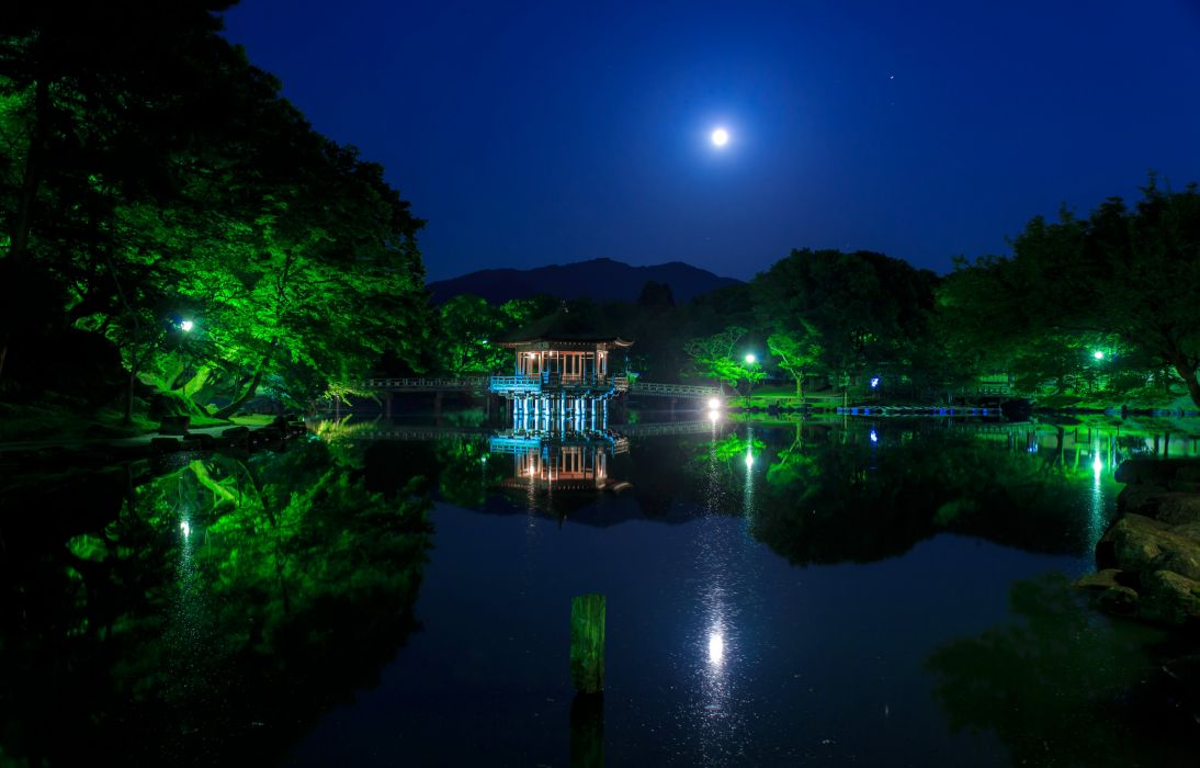 Japan Parks Pond Pagodas Trees Night Moon Ukimido Nature wallpaper