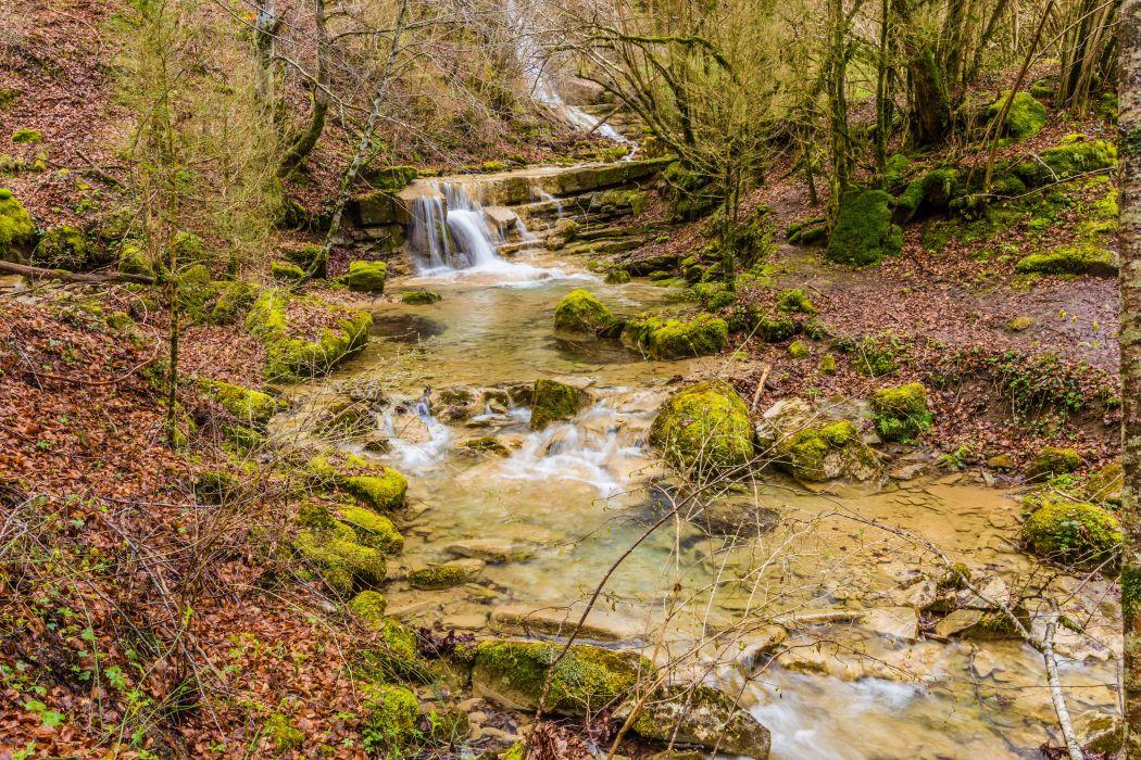 Spain Stones Stream Moss Catalonia Nature wallpaper