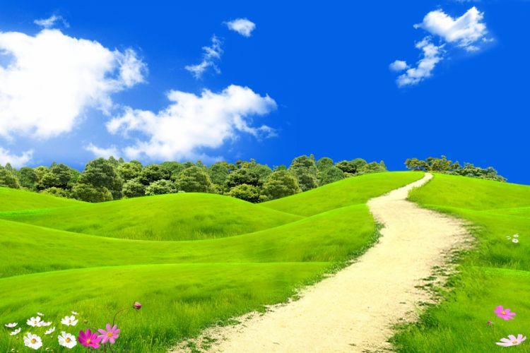 Fields Grasslands Clouds Trail Nature wallpaper