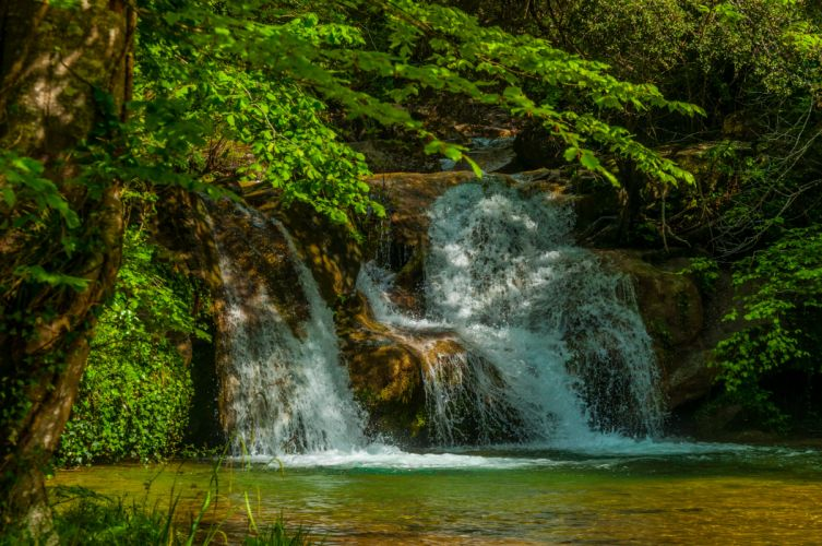 Waterfalls Spain Garrotxa Volcanic Zone Nature wallpaper