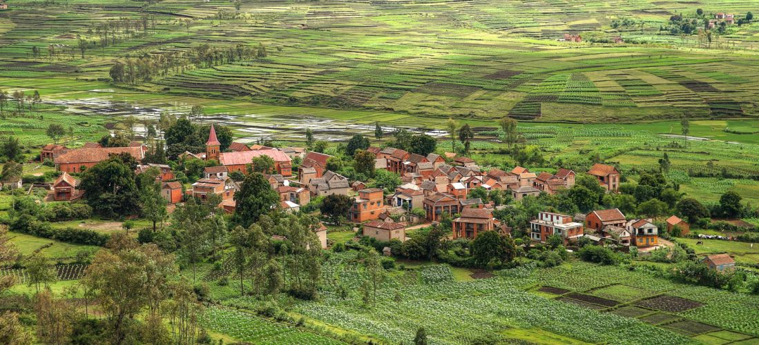 Houses Fields From above Village Madagascar Nature wallpaper