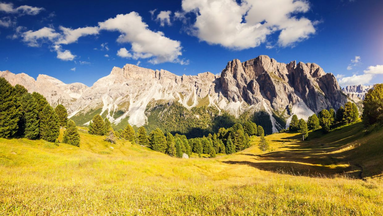 Mountains Scenery Trees Clouds Grass Nature wallpaper