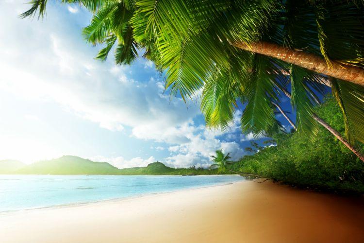 Tropics Coast Palma Clouds Beach Mahe Island Seychelles Nature wallpaper