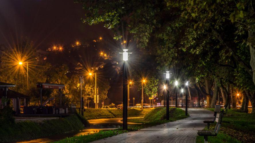 Croatia Parks Trees Bench Night Street lights Pavement Samobor Zagreb Nature wallpaper