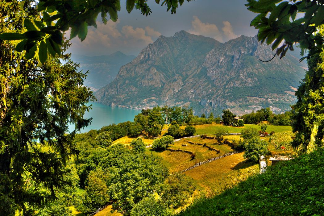 Italy Mountains Scenery Fields Trees HDR Monte Isola Lombardy Nature wallpaper