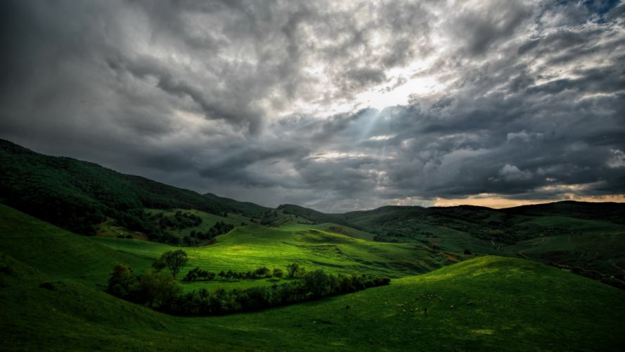 Grasslands Scenery Clouds Nature wallpaper