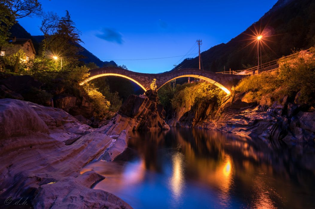 Switzerland Rivers Bridges Night Street lights Crag Lavertezzo Canton of Ticino Nature wallpaper