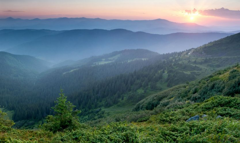 Ukraine Mountains Sunrises and sunsets Forests Carpathians Nature wallpaper