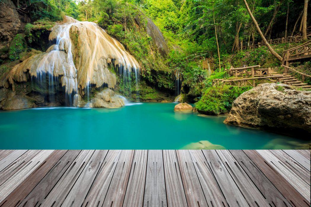 Thailand Tropics Parks Waterfalls Moss Nature wallpaper