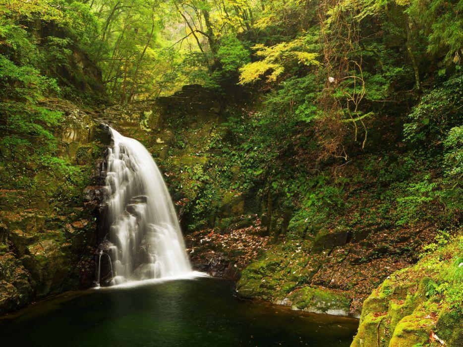 Waterfalls Moss Crag Nature wallpaper